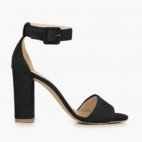czarne zamszowe sandały lara