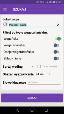 aplikacja dla wegan